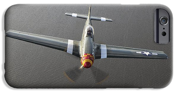 North American Aviation iPhone Cases - A North American P-51 Mustang In Flight iPhone Case by Daniel Karlsson
