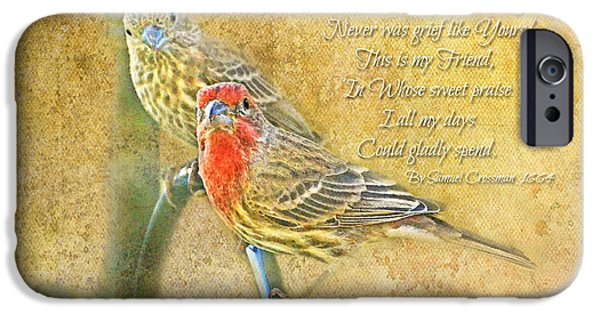 Wild Animals iPhone Cases - A Pair of Housefinches with Verse part 2 - Digital Paint iPhone Case by Debbie Portwood