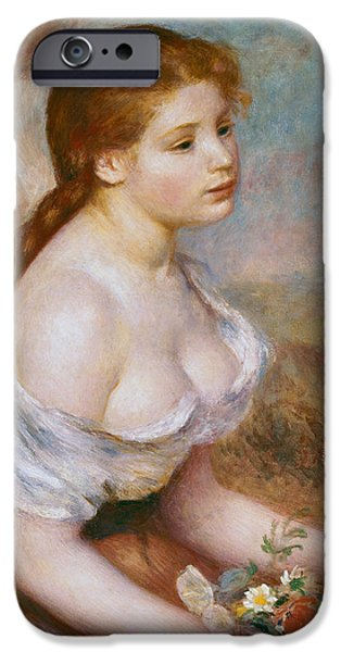 Renoir iPhone Cases - A Young Girl with Daisies iPhone Case by Pierre-Auguste Renoir
