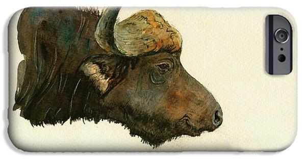 Buffalo Art iPhone Cases - African buffalo watercolor painting iPhone Case by Juan  Bosco