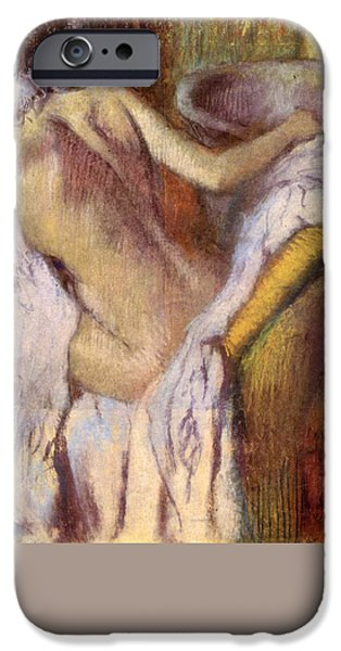19th Century Pastels iPhone Cases - After the bath woman drying herself  iPhone Case by Edgar Degas