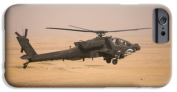 Recently Sold -  - Iraq iPhone Cases - Ah-64d Apache Helicopter On A Mission iPhone Case by Terry Moore