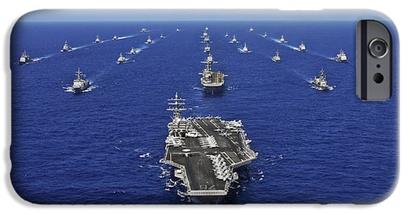 Reagan iPhone Cases - Aircraft Carrier Uss Ronald Reagan iPhone Case by Stocktrek Images