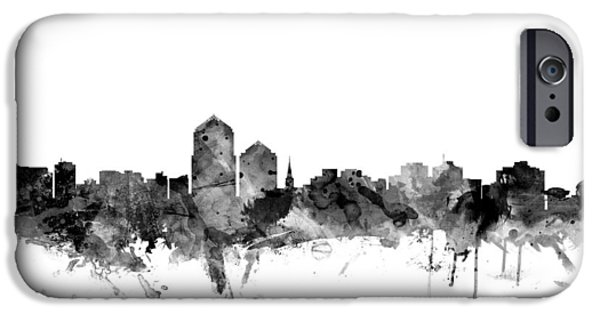 New Mexico Digital iPhone Cases - Albuquerque New Mexico Skyline iPhone Case by Michael Tompsett