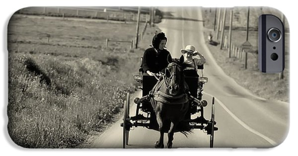 Horse And Buggy iPhone Cases - Amish Buggy Ride - 1980s iPhone Case by Mountain Dreams
