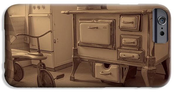Linoleum iPhone Cases - Antique Kitchen iPhone Case by Michael Schwarzenberger