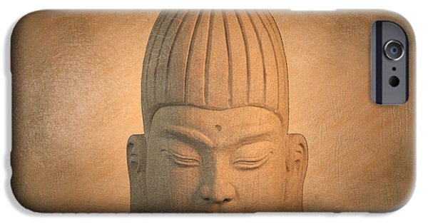 Tranquil Sculptures iPhone Cases - antique oil effect Buddha Burmese.. iPhone Case by Terrell Kaucher