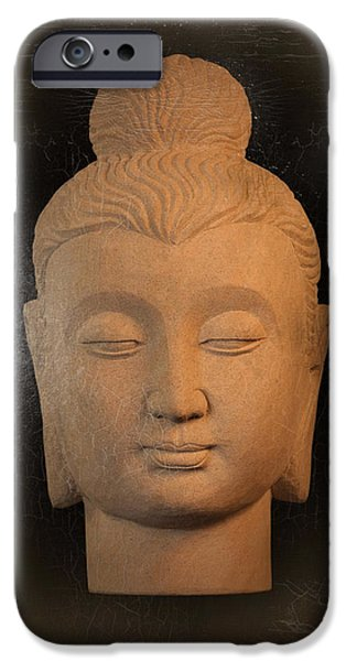 Tranquil Sculptures iPhone Cases - antique oil effect Buddha Gandhara.. iPhone Case by Terrell Kaucher