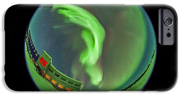 Nature Study iPhone Cases - Aurora Borealis Over Churchill iPhone Case by Alan Dyer