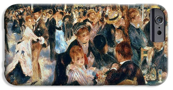 French Open Paintings iPhone Cases - Ball at the Moulin de la Galette iPhone Case by Pierre Auguste Renoir