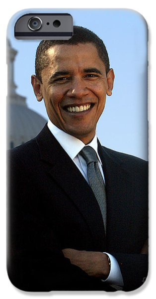 44th President iPhone Cases - Barack Obama iPhone Case by Celestial Images