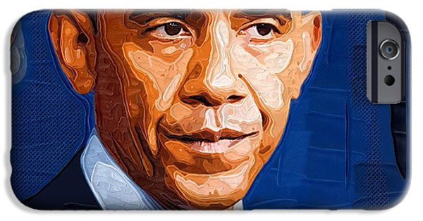 Obama Poster iPhone Cases - Barack Obama Portrait iPhone Case by Victor Gladkiy