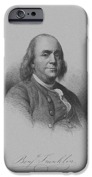 4th July Mixed Media iPhone Cases - Benjamin Franklin iPhone Case by War Is Hell Store