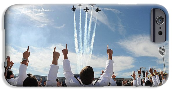 Potus iPhone Cases - Blue Angels fly over the USNA graduation ceremony iPhone Case by Celestial Images
