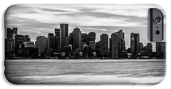 Boston Harbor iPhone Cases - Boston Skyline Black and White Picture iPhone Case by Paul Velgos