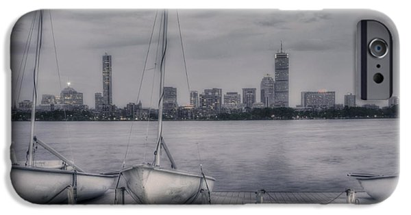 Charles River iPhone Cases - Boston Skyline from MIT Sailing Pavilion iPhone Case by Joann Vitali