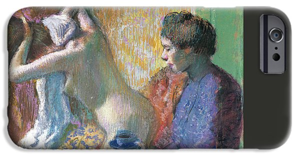 19th Century Pastels iPhone Cases - Breakfast After The Bath  iPhone Case by Edgar Degas