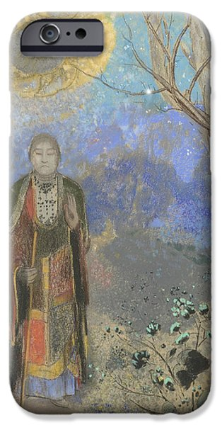 19th Century Pastels iPhone Cases - Buddha iPhone Case by Odilon Redon