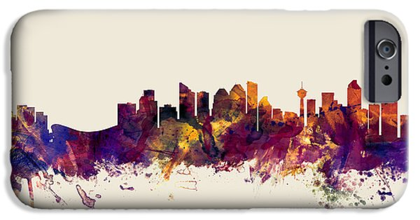 Alberta iPhone Cases - Calgary Canada Skyline iPhone Case by Michael Tompsett