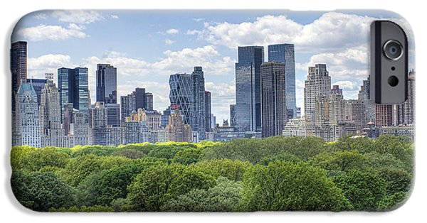 City Scape Digital Art iPhone Cases - Central Park South iPhone Case by Ariane Moshayedi