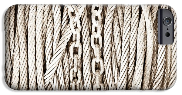 Chain-ring iPhone Cases - Chains and cables iPhone Case by Tom Gowanlock