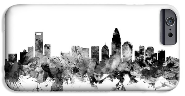 Charlotte iPhone Cases - Charlotte North Carolina Skyline iPhone Case by Michael Tompsett