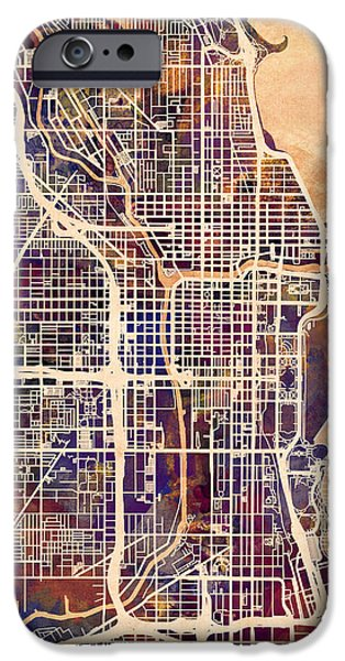 Sears Tower iPhone Cases - Chicago City Street Map iPhone Case by Michael Tompsett