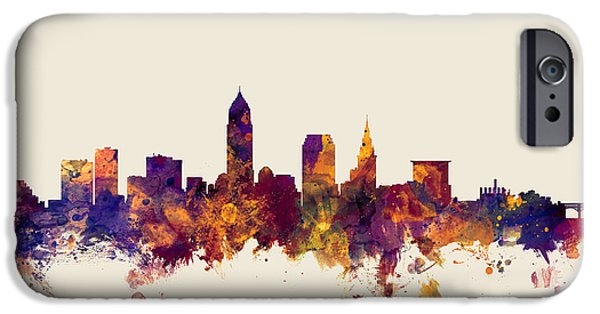 United States iPhone Cases - Cleveland Ohio Skyline iPhone Case by Michael Tompsett