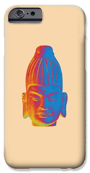 Asian Sculptures iPhone Cases - colorful Buddha - Burmese iPhone Case by Terrell Kaucher