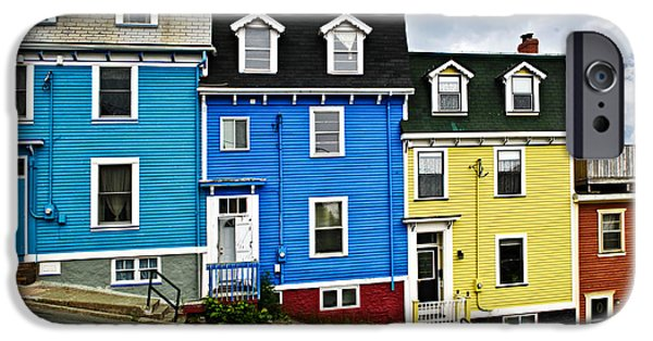 Newfoundland iPhone Cases - Colorful houses in St. Johns Newfoundland iPhone Case by Elena Elisseeva