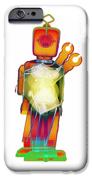 Toy Store iPhone Cases - D4X X-ray Robot Art Photograph iPhone Case by Roy Livingston
