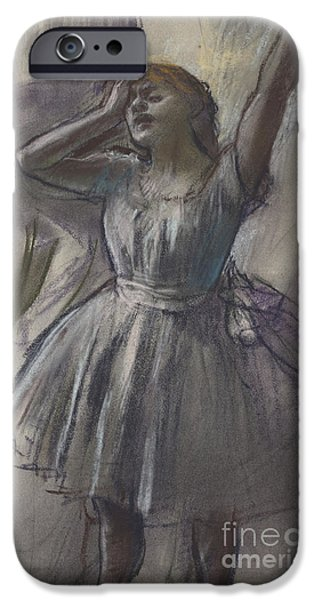 19th Century Pastels iPhone Cases - Dancer Stretching iPhone Case by Edgar Degas