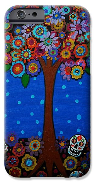 Folk Art iPhone Cases - Day Of The Dead iPhone Case by Pristine Cartera Turkus