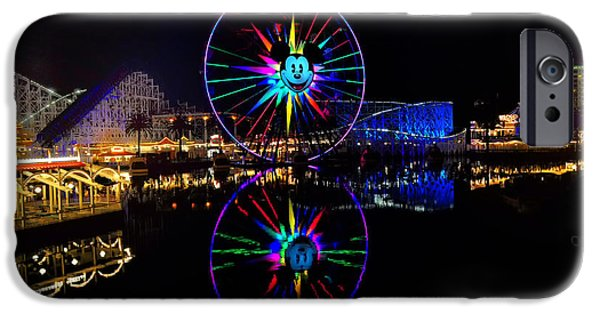 Snow iPhone Cases - Disney California Adventure Mickeys Fun Wheel iPhone Case by Peter Dang