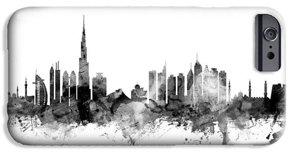 Arab iPhone Cases - Dubai Skyline iPhone Case by Michael Tompsett