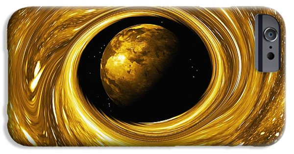 Stellar iPhone Cases - Earth In A Black Hole, Artwork iPhone Case by Mehau Kulyk