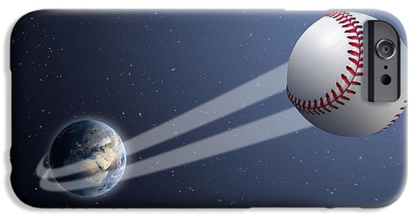 Stratosphere iPhone Cases - Earth With Ball Swoosh In Space iPhone Case by Allan Swart