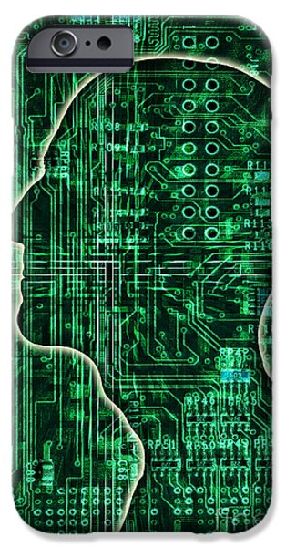 Electronic iPhone Cases - Electronic Man iPhone Case by George Mattei