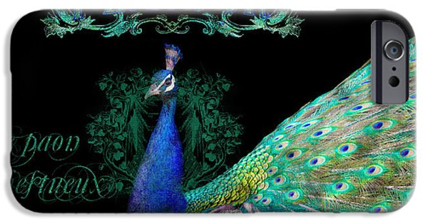 Peacock iPhone Cases - Elegant Peacock w Vintage Scrolls  iPhone Case by Audrey Jeanne Roberts