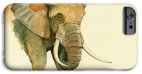 Elephant iPhone Cases - Elephant painting           iPhone Case by Juan  Bosco