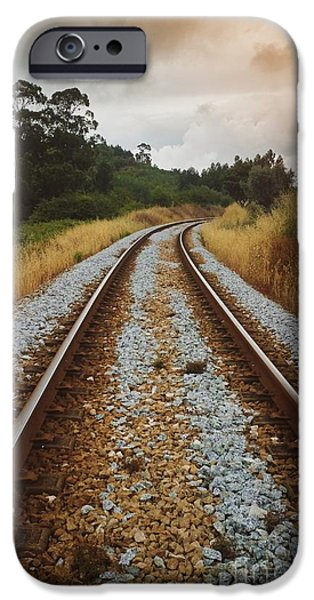 Destiny Photographs iPhone Cases - Empty Railway iPhone Case by Carlos Caetano