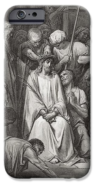 Jesus Drawings iPhone Cases - Engraving From The Dore Bible iPhone Case by Ken Welsh
