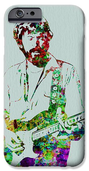 British Portraits iPhone Cases - Eric Clapton iPhone Case by Naxart Studio