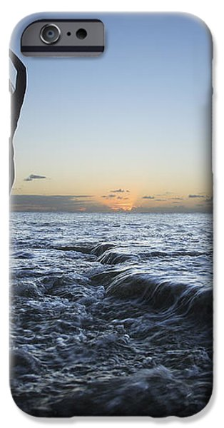 Female doing Yoga at sunset iPhone Case by Brandon Tabiolo - Printscapes