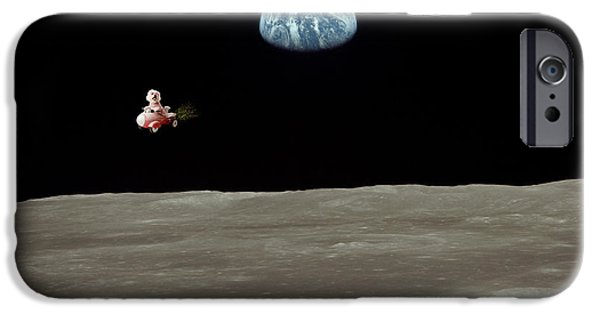 Puppy Love Greeting Cards iPhone Cases - Fifi goes to the moon iPhone Case by Michael Ledray