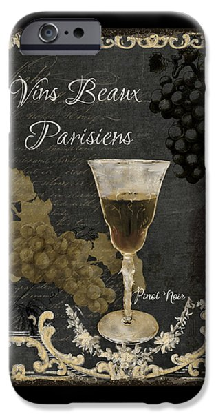 Goblet iPhone Cases - Fine French Wines - Vins Beaux Parisiens iPhone Case by Audrey Jeanne Roberts