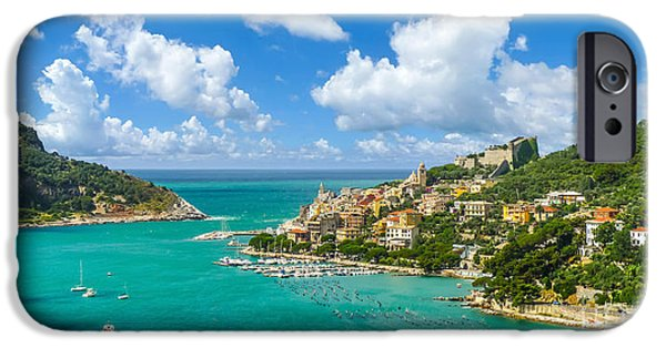 Boat iPhone Cases - Fisherman town of Portovenere, Liguria, Italy iPhone Case by JR Photography