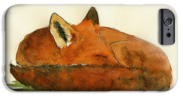 Fox Paintings iPhone Cases - Fox sleeping painting iPhone Case by Juan  Bosco