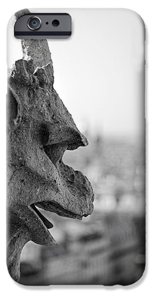 Balcony iPhone Cases - Gargoyle guarding the Notre Dame Basilica in Paris iPhone Case by Pierre Leclerc Photography