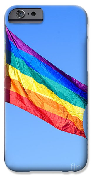 Cut-outs iPhone Cases - Gay rainbow flag  iPhone Case by Ilan Rosen